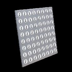 NWK-5 wymiar zewnętrzny 496x496, płyta stal lakierowana proszkowo  RAL9006, 64 sztuki małych dyszek w kolorze białym