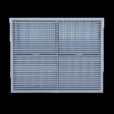 ST-W/GP / 1000x800 / RAL9006 / aluminium / dzielenie wewnętrzne lamel / przepustnica ze stali ocynkowanej dzielona na 4 części / otwory montażowe w ramce do przykręcenia kraty - ilość otworów dopasowana do gabarytów kraty