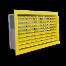 ST-W/GP / 500x250 (wymiar otworu montażowego LxH) / RAL 1018 / stal ocynkowana / otwory montażowe w ramce kraty
