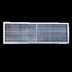 Krata z podwójnym rzędem  ruchomych lamel (1-poziom, 2-pion) oraz przepustnicą przeciwbieżną ST-WS/GP 800x300 / stal kwasoodporna / wewnętrzne dzielenie lamel / brak otworów montażowych w ramce - montaż na zatrzask w dodatkowej ramce montażowej