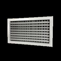 Krata z podwójnym rzędem  ruchomych lamel (1-poziom, 2-pion) oraz przepustnicą przeciwbieżną ST-WS/GP 400x200 RAL9006 stal ocynkowana