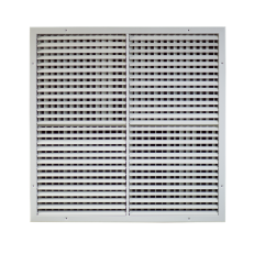Krata z podwójnym rzędem ruchomych lamel (1-poziome, 2-pionowe) ST-W/S 750x750 RAL9010 - dzielona